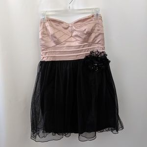 Black and Pink Strapless Tulle Dress